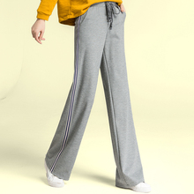 2018 New Gray Wide Leg Pants Women Pockets Drawstring High Waist Pants Casual Loose Lace Up Warm Pants Long Winter Trousers