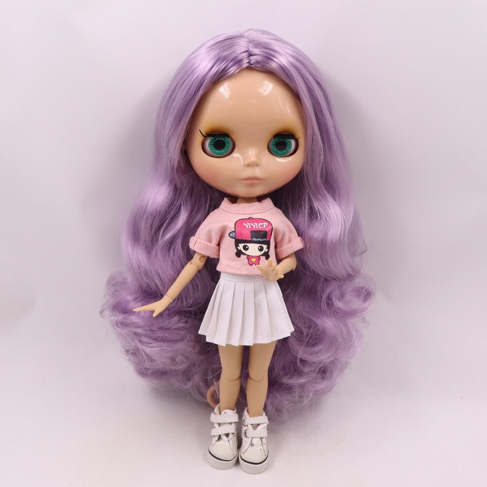 Neo Blythe Doll with Purple Hair, Tan Skin, Shiny Face & Jointed Body 3