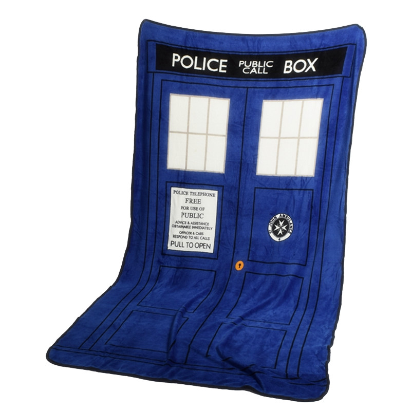 Doctor Who Cosplay Blankets Tardis Coral Fleece Cosplay Carpet Police Box Blanket Blue Bed Sheet 127*226cm