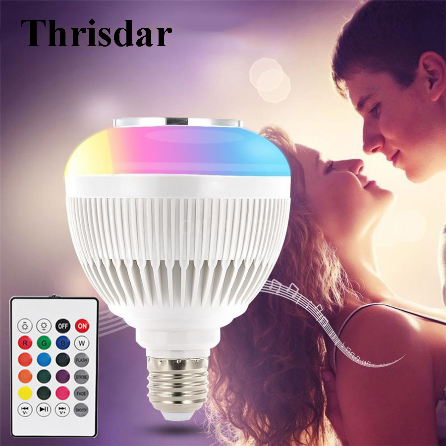 Thrisdar E27 Smart Wireless Bluetooth Speaker Music Bulbs RGBW Dimmable 12W RGB Music Playing Bulbs Lamp with Remote Control