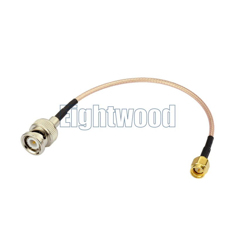 Eightwood RF coaxial coax adapter cable assembly BNC male to SMA male straight Pigtail jumper RG316 Cable