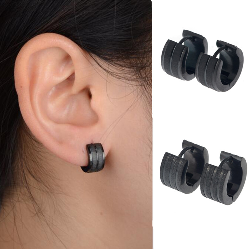 Punk 1 Pair Black Stainless Steel Mens Stud Earrings Frosted Fashion Gothic Unisex Jewelry
