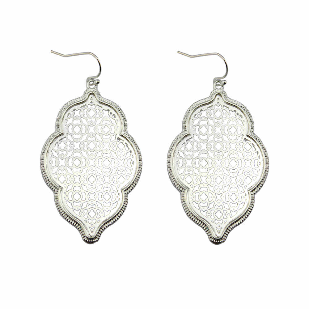 Two Tone Silver Filigree Moroccan Earrings for Women 2018 Hot Fashion Statement Earrings Drop Earrings Jewelry Earring Wholesale