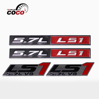 Car Styling Truck Auto 2x Red Black 3D Chrome 5 7L LS1 Metal Adhesive Sticker 2x