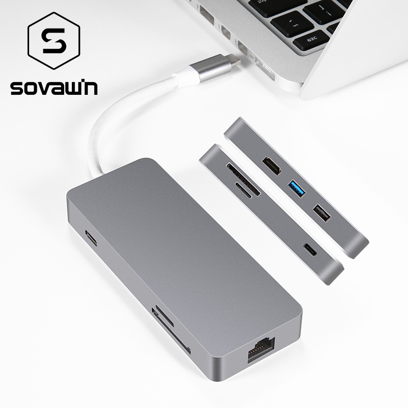 USB-C Тип c концентратор для Macbook сплитер адаптер USB 3.0 TF SD Card Reader 2 К видео HDMI RJ45 Ethernet LAN сети PD зарядки