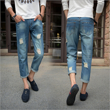 Новое прибытие летняя мода повседневная мужчин джинсы середине талии лодыжки длина отверстие случайные мужчины брюки Бесплатная Доставка MF7658924