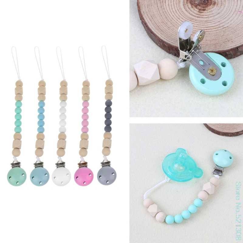 Candy Color Pacifier Clips Chain Holder Wood Silicone Beads Nipples Dummy Hol TD