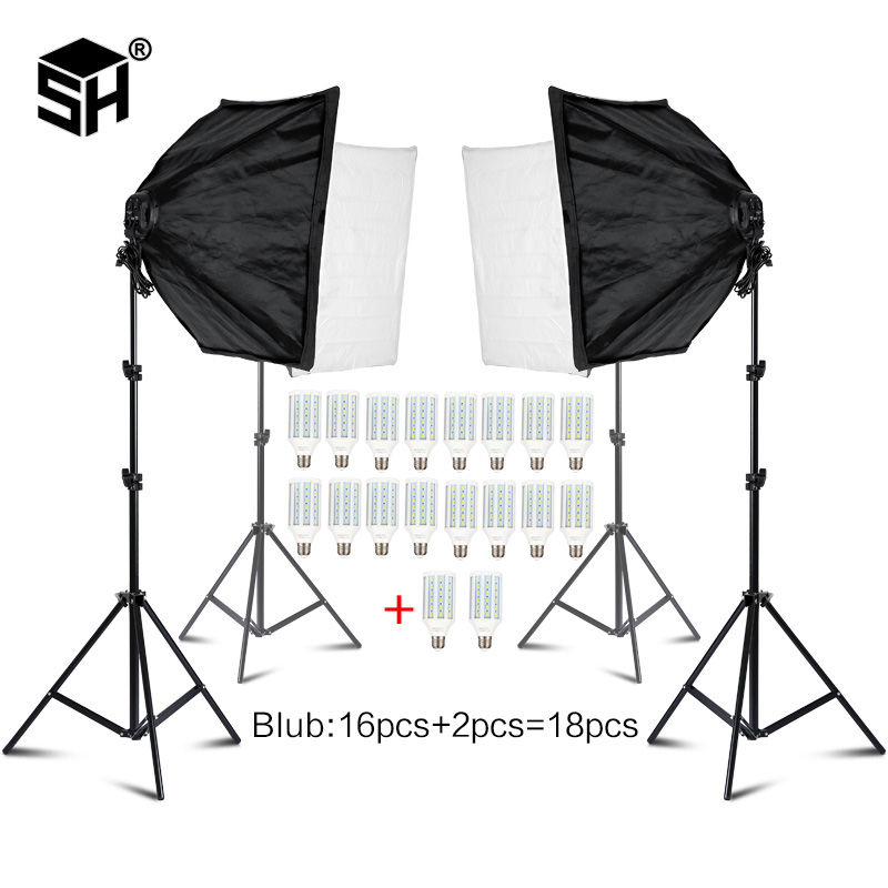 Photo Studio Rectangle Photography Soft Box 8 Led 20W Photographic Lighting Kit 2 Light Stand 2