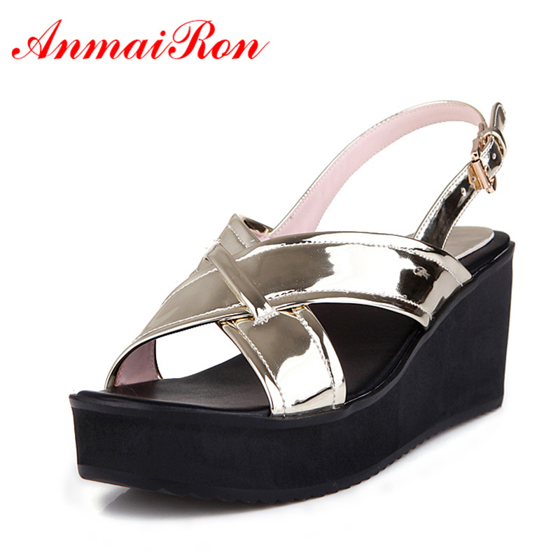 ANMAIRON Ankle Strap Summer Shoes Woman Sandals Buckle Strap Fashion Wedges Women Sizes34-39Gold Silver Shoes Casual Girls Shoes phyanic 2017 gladiator sandals gold silver shoes woman summer platform wedges glitters creepers casual women shoes phy3323