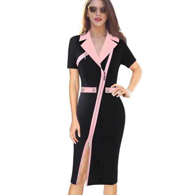 Vfemage Women Sexy Elegant Lapel Asymmetric Zip Moto Button Casual Work Office Business Party Bodycon Vestido Sheath Dress 10079