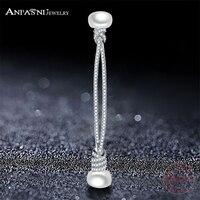 ANFASNI Fashion New Hot 925 Sterling Silver Popular Luxury Zircon Stud Earrings Elegant Double Pearl Knot