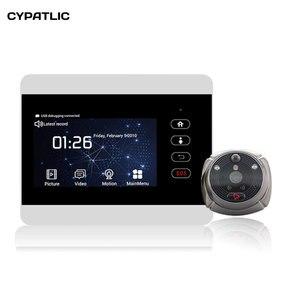 Image 1 - iHome5 WiFi Peephole Door Viewer & Video IP Doorbell 4 Inch Screen IR PIR Door HD Camera Motion Detect Door Bell