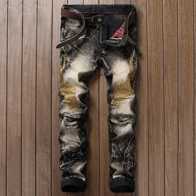 Retro Designer Men Jeans European American Street Man Clothing Stripe Jean Men Pants Wings Embroidery Destroyed