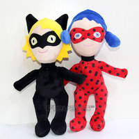 Popular Cartoon Miraculous Ladybug Marinette Cat Noir Adrien Plush Toys Soft Stuffed Dolls 38cm 2 Styles