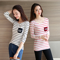 2016 Summer Women Korean Women Long Sleeve T-shirt O-neck Pocket Casual Sim Plus Size Striped Female Fashion T Shirt Tops Red