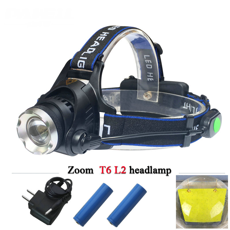 Lampe frontal Portable LED Head Lamp CREE XML T6 Headlamp Rechargeable 18650 Headlight 4 mode torch LED Head Flashlight Lantern