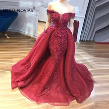 Angel Novias Long Mermaid Burgundy Evening Dress 2019