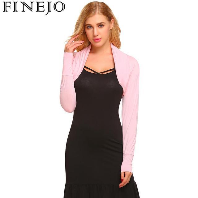 FINEJO Bolero Long Sleeve Open Front Solid Slim Fit Shrug Women s Crop Top 60b8578ae554