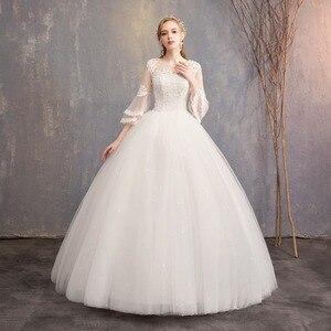 Image 2 - Nuovo Disegno di Vendita Caldo Classico Semplice Bianco Viory Abiti di Sfera Noiva Casamento Moda Robe De Mariage Sette Sleeve Custom Made