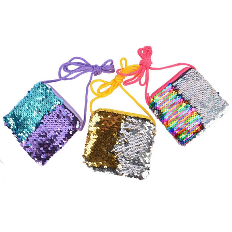 1Pc Children Mini Sequin Zipper Cross-body Handbag Fashion Kids Shoulder Messenger Bag