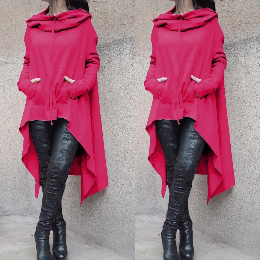 Plus Sizes 5XL Women Loose Hoodie Long Hooded Tops Ladies Sweatshirt Asymmetric Clothes Long Sleeve Solid Hot pink Woman Outwear