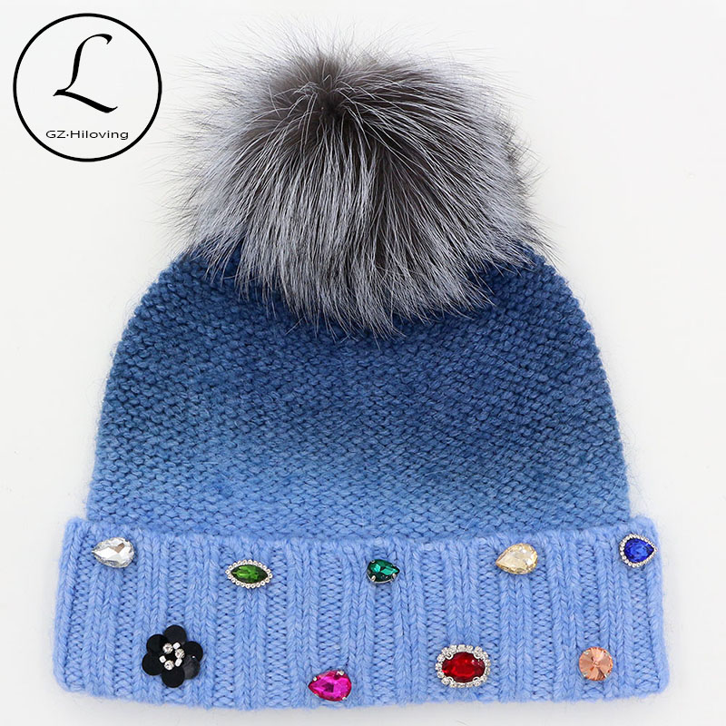 GZHILOVINGL 2017 New Winter Russian Hat Womens Wool Knitted Beanie Hats Thick Oversized Knit Beanie Hat With Real Fox Fur Pompom russian phrase book