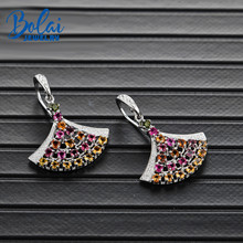 Bolai natural tourmaline dangle hook earrings skirts 925 sterling silver multi color gemstone fine jewelry 2019 womens earring