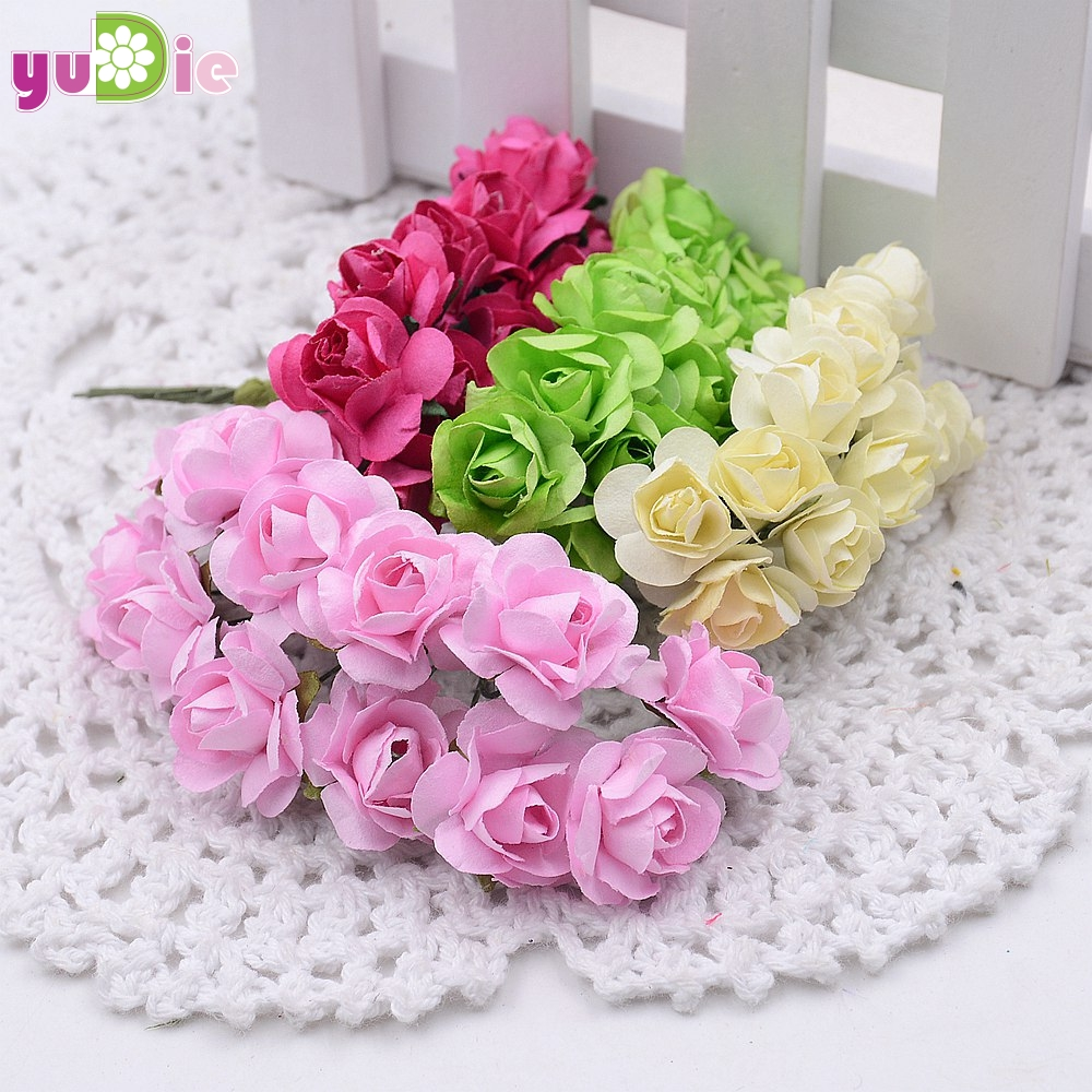 Popular wedding decor paper flowers buy cheap wedding decor paper 12pcslot 1cm mini paper rose flowers bouquet wedding decoration paper flower for diy scrapbooking mightylinksfo