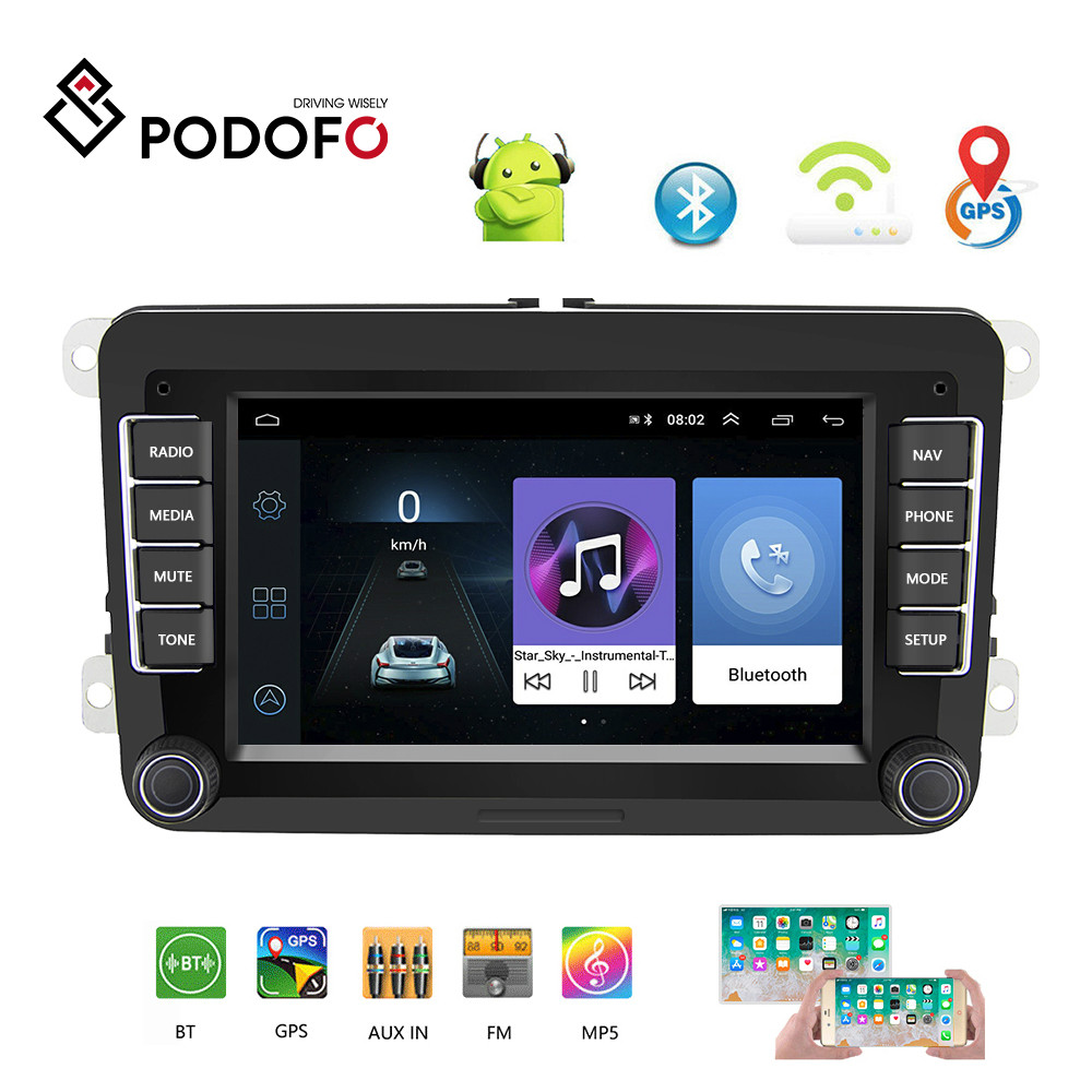 Podofo 2 din Car Radio 7 VW Car MP5 Multimedia Player Android GPS Navigation Autoradio ISO /Android Mirror Link Support CameraPodofo 2 din Car Radio 7 VW Car MP5 Multimedia Player Android GPS Navigation Autoradio ISO /Android Mirror Link Support Camera