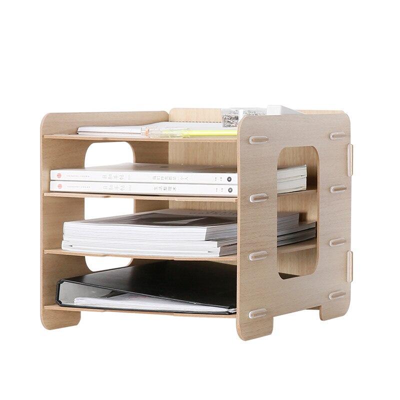 Organisateur de bureau en bois A4 papier porte-fichiers 5 couleurs 4 couches multi-usage divers boîte de rangement Eco bois bureau support de rangement