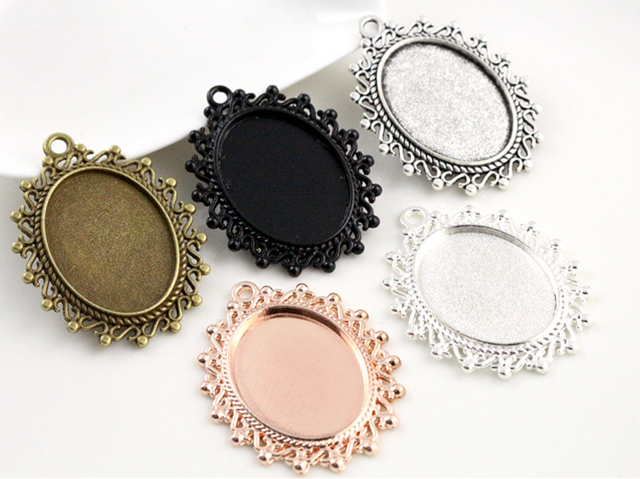 5pcs 18x25mm Inner Size 5 Colors Plated Flowers Style Cameo Cabochon Base Setting Charms Pendant necklace findings