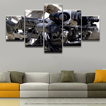 Lienzo pintura hogar decorativo sala de estar o dormitorio arte de pared 5 Panel máquina póster de pistola impreso cuadro Modular lienzo impreso