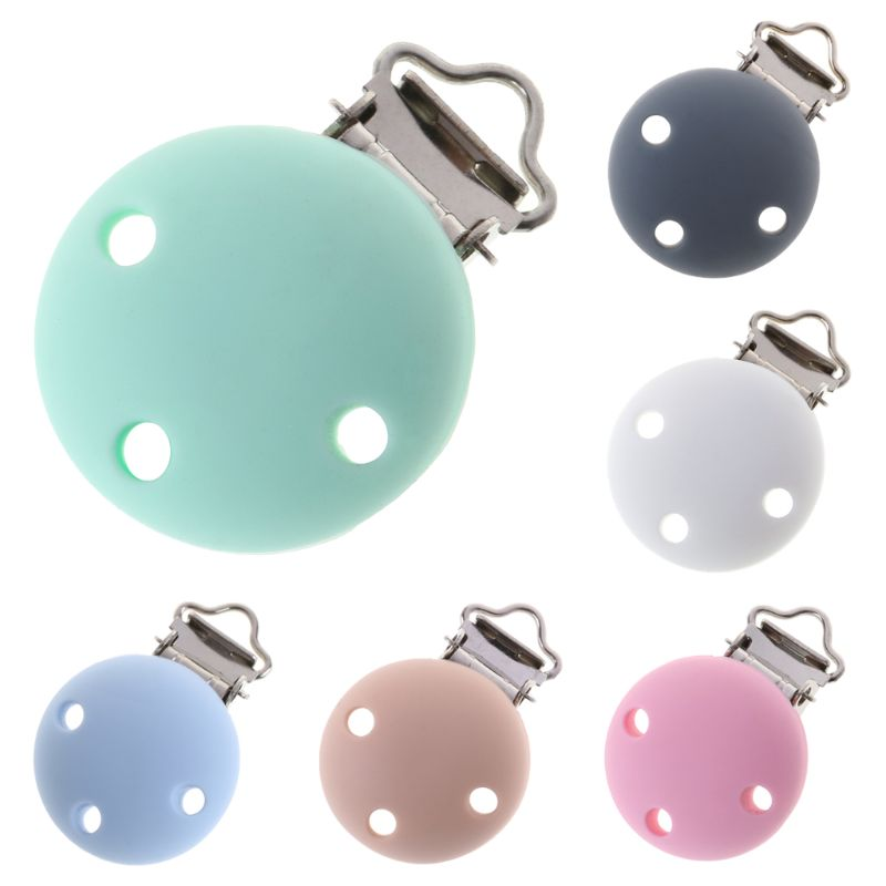 Baby Pacifier Clip Silicone Soother Teether Nipple Holder Round Soft Saliva Towel Clips Toys Buckle Newborn Nursing Supplies DIY