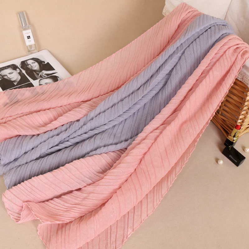 high quality Fashion cotton wrinkle double color shawls hijab autumn muslim wraps crumple long scarves scarf