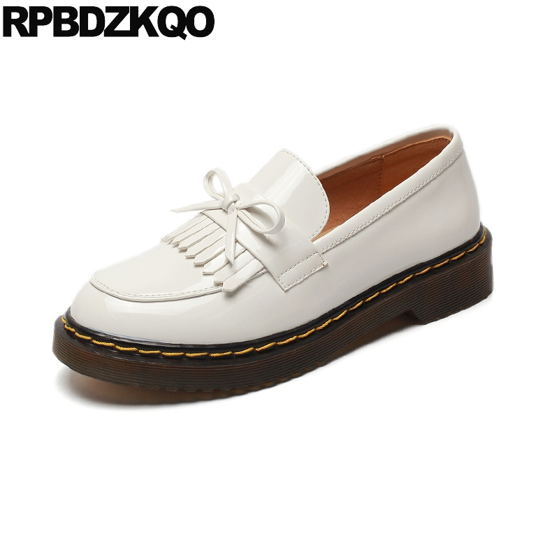 Patent Leather Flats Bow Black Vintage Loafers Japanese Fringe Women Oxford With Tassel Bowtie White Retro Fashion Spring Autumn