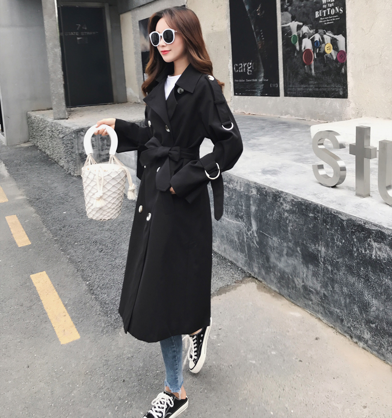 2019 Brand New Slim   Trench   Coats for Women Double-Breasted Long Casual Outerwear Spring Autumn Clothes Black Gray