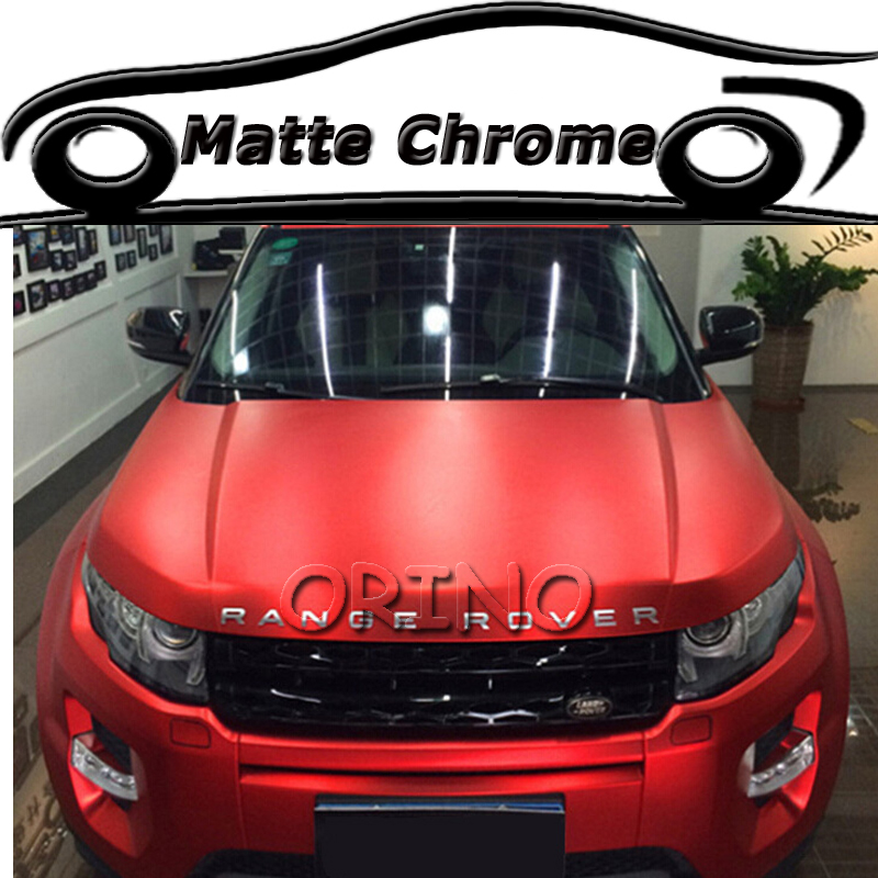 High Quality Red Satin Metallic Matte Chrome Wrap Vinyl Film Auto Body Wrapping Sticker With Bubble