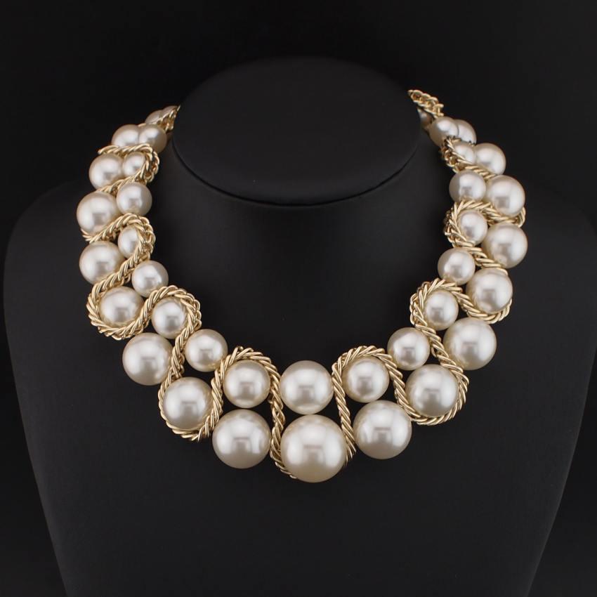 MANILAI Factory price Bib Chunky imitation Pearl Necklaces Women ...