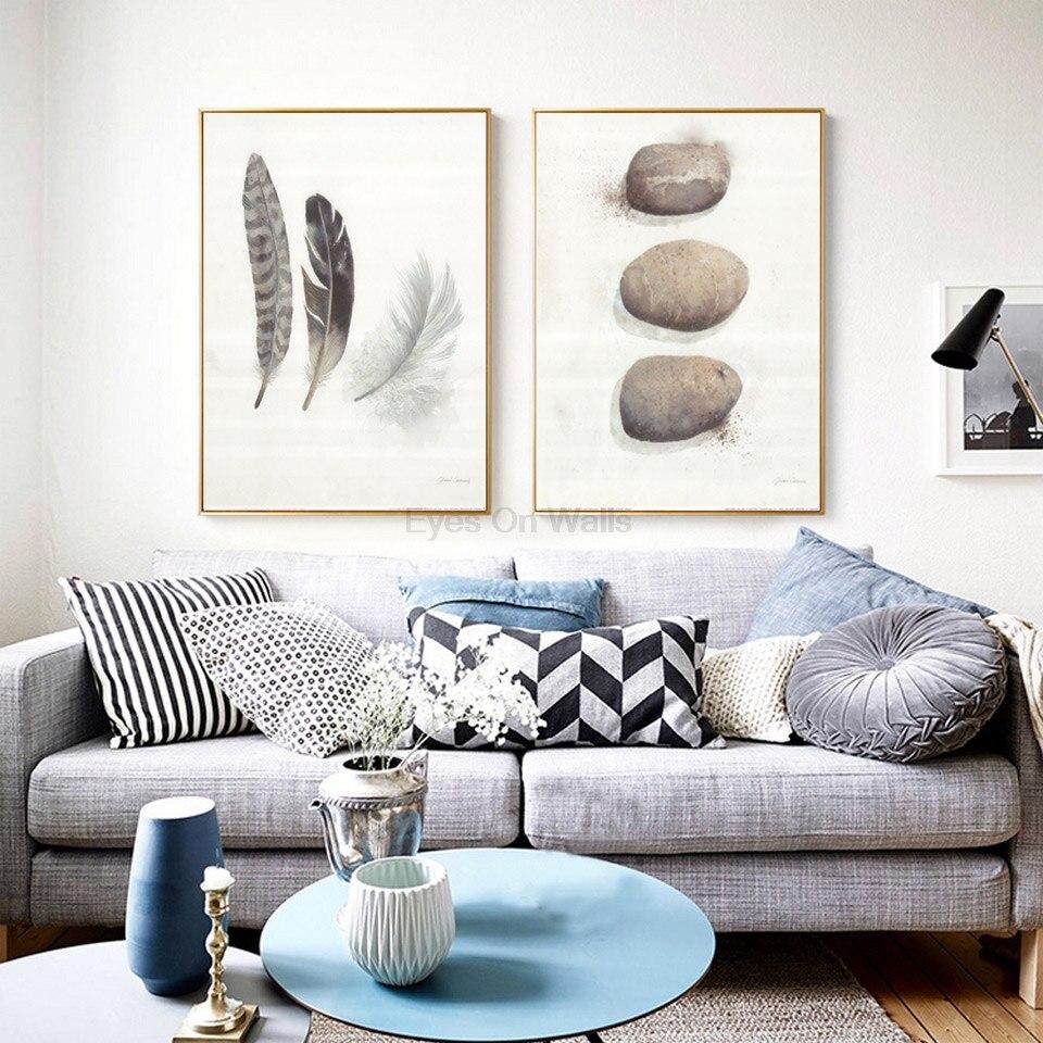 wohnzimmer wand poster : Keine Rahmen Feder Poster Skandinavischen Stein Leinwand Malerei