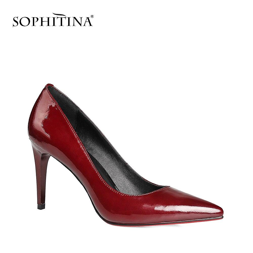 SOPHITINA Elegant Pumps Bordeaux Patent Leather Thin Heels Pointed Toe New  Girl Wedding Pumps High Heel Sheepskin Shoes Women W2 3850e4311e46