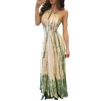 2017 Summer Women's Elegant Vintage Halter Lacing Vestidos Sexy Party Print Maxi Beach Dress