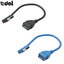 EDAL 1Pcs USB 3.0 Right Angle 90 Degree Extension Cable Male To Female Adapter Cord USB Cables