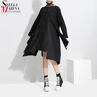 נשים חדש 2018 קוריאני סגנון שחור צוואר O שמלה סימטרית עיצוב בנות שרוול ארוך Ripped היפי שיק שמלות מזדמנים ללבוש 3225