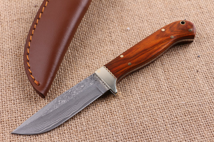 Buy Collect Damascus Fixed Blade Knives Rosewood Handle Camp Survival Knives Hunting Knife Multi EDC Knives Rescue Tools cs go cheap