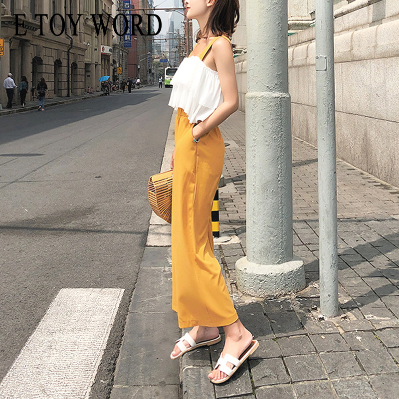0138ee27 E TOY WORD Women's Sets summer sling tops women Off-the-shoulder ruffled  chiffon shirt two pieces High waist wide leg pants
