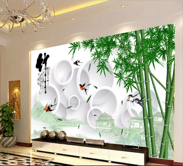 Can customized chinese style bamboo white circle large 3d for Bamboo mural wallpaper