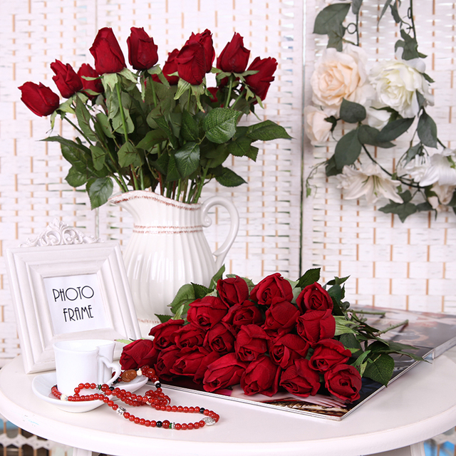 10 pcs/Lot Artificial Rose flowers Engagement Real Touch Silk Rose ...