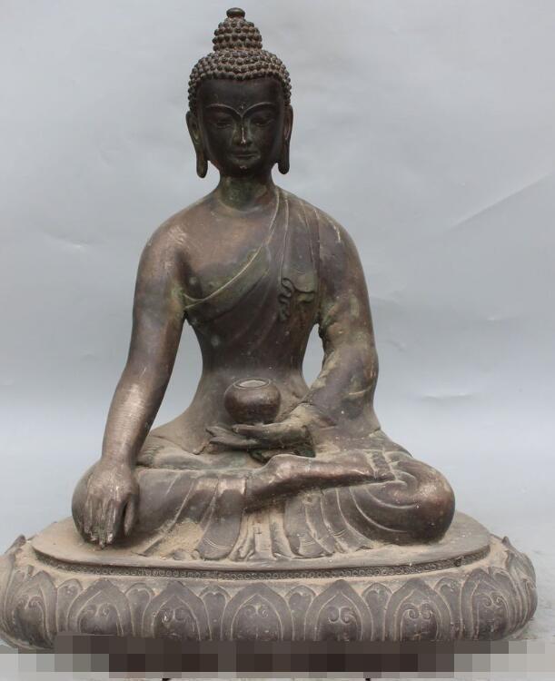 S3782 18Old Tibet Buddhism Temple Bronze Shakyamuni Sakyamuni Tathagata Buddha StatueS3782 18Old Tibet Buddhism Temple Bronze Shakyamuni Sakyamuni Tathagata Buddha Statue