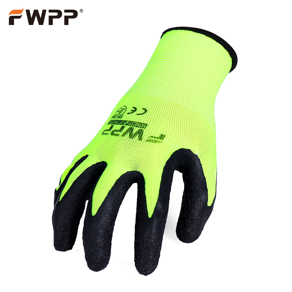 FWPP 6 pairs work gloves comfortable breathable non-slip wear-resistant fluorescent yellow latex coated gloves nmsafety 3 pairs comfortable flower print polyeaster liner coated pu gloves women work in gardening great gloves online