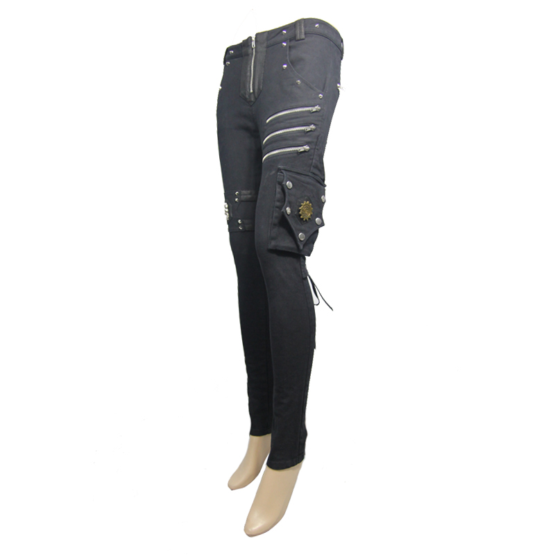 Pants leggings black with patterns baroque and lacing elegant ari Punk Rock Club Fashion Visual Kei K291 - 5